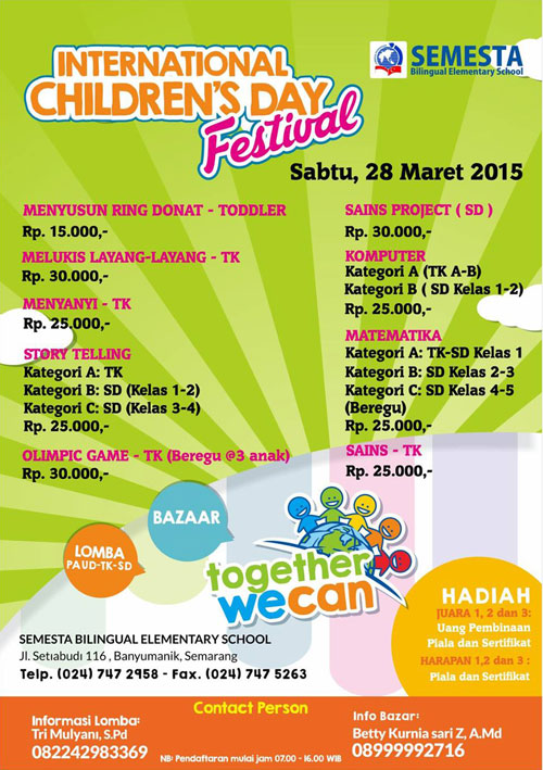 International Children's Day Festival 2015 Semesta School Semarang