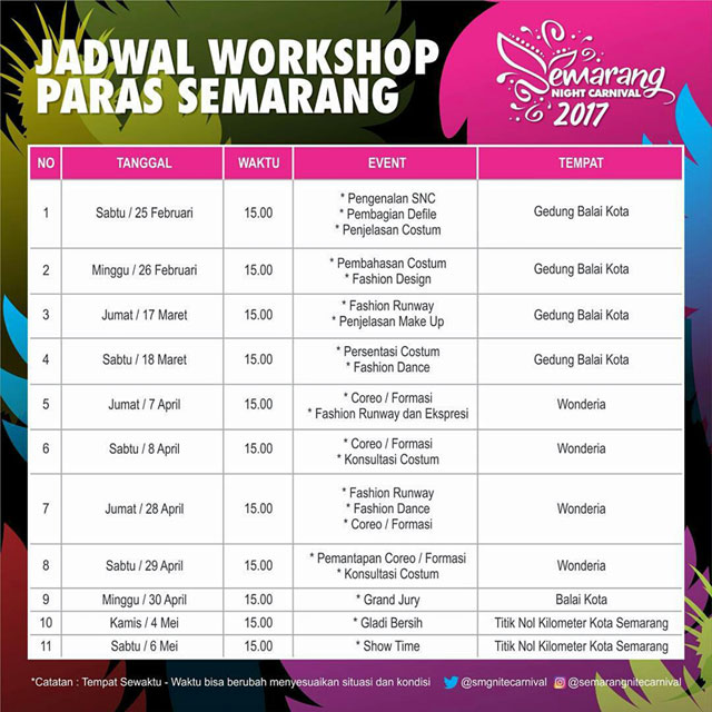 Jadwal Workshop PARAS Semarang Night Carnival 2017