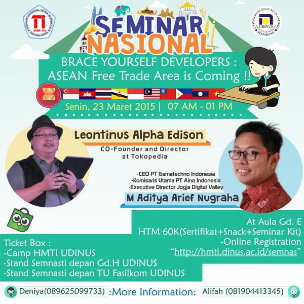 Seminar Nasional HMTI 2015 Brace Yourself Developers, UDINUS - Semarang